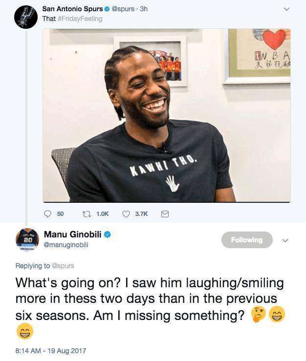 馬努驚訝萊納德在中國笑太多:同隊6年都沒見過